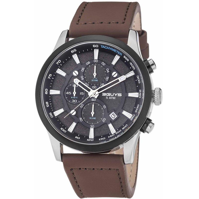 Ρολόι 3GUYS Chronograph Brown Leather Strap - 3G03004