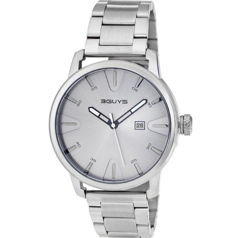 Ρολόι 3GUYS 45mm Silver Stainless Steel Bracelet - 3G14722