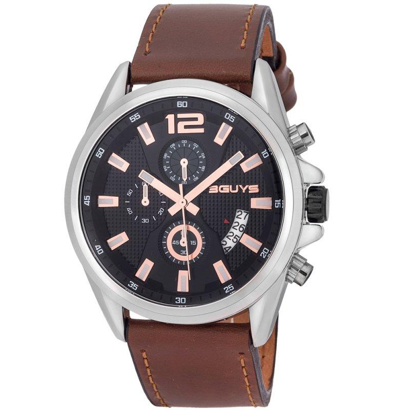 Ρολόι 3GUYS Black Leather Strap - 3G49004