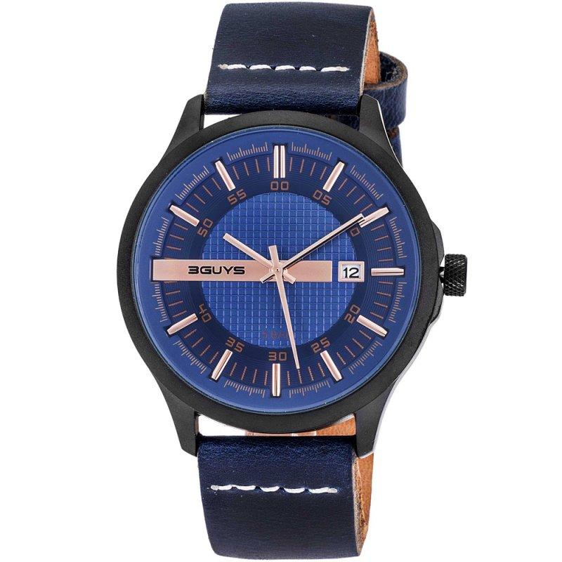 Ρολόι 3GUYS Black Metal Blue Leather Strap - 3G50006