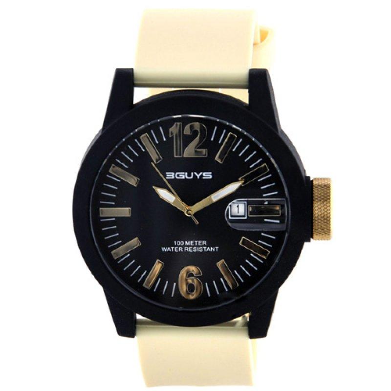 Ρολόι 3GUYS Black Leather Strap - 3G12911