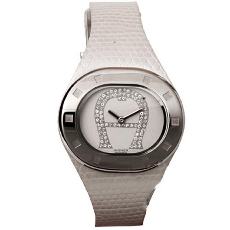 Ρολόι Aigner Ladies Crystal White Leather Strap - A21200