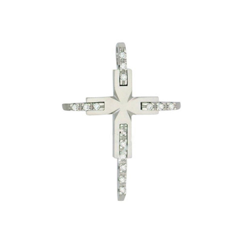Σταυρός Γυναικείος Al' Oro Λευκόχρυσο Κ14 - ATA102