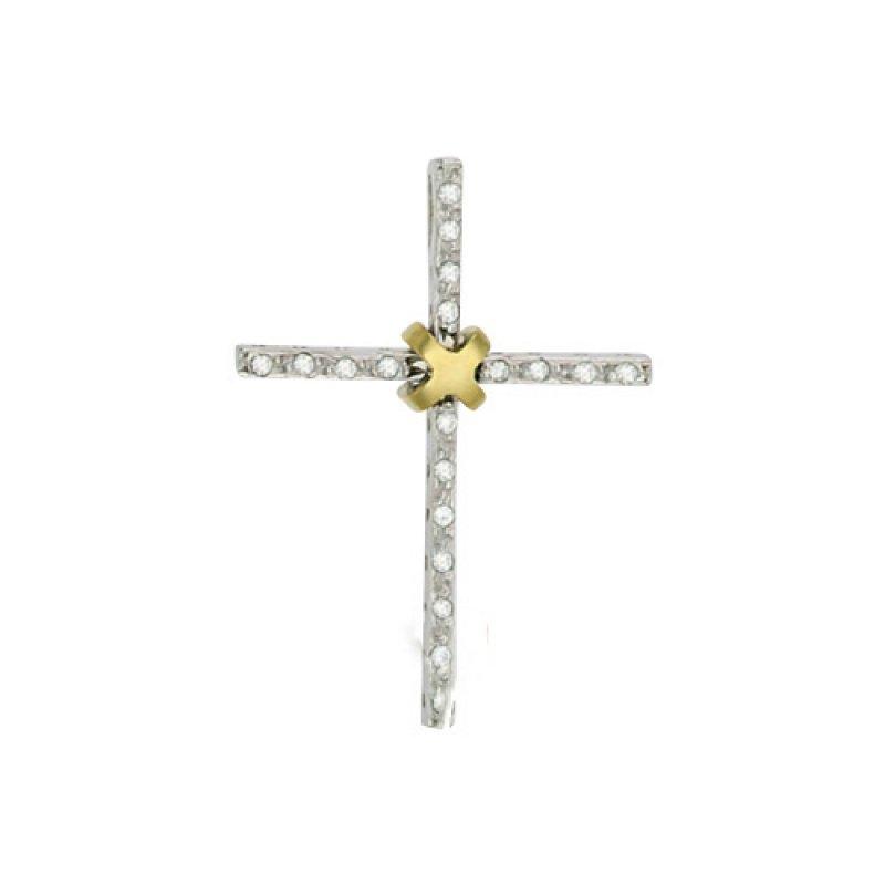 Σταυρός Γυναικείος Al' Oro Λευκόχρυσο Κ14 - ATA133