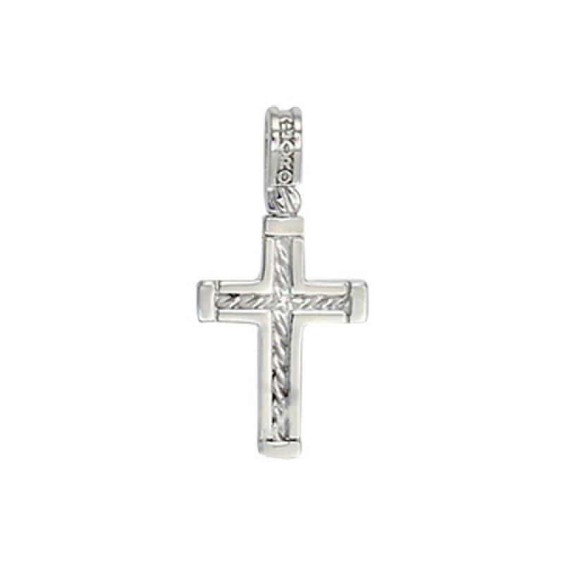 Σταυρός Ανδρικός Al' Oro Λευκόχρυσο Κ14 - ATX145