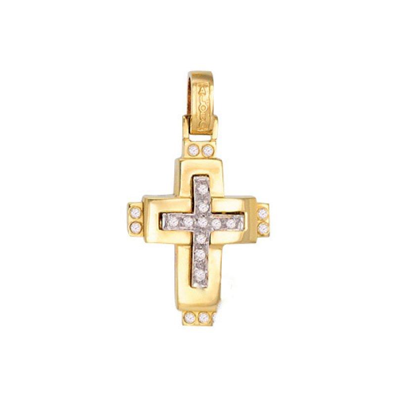 Σταυρός Γυναικείος Al' Oro Χρυσό Κ14 Δίχρωμος - KTA083