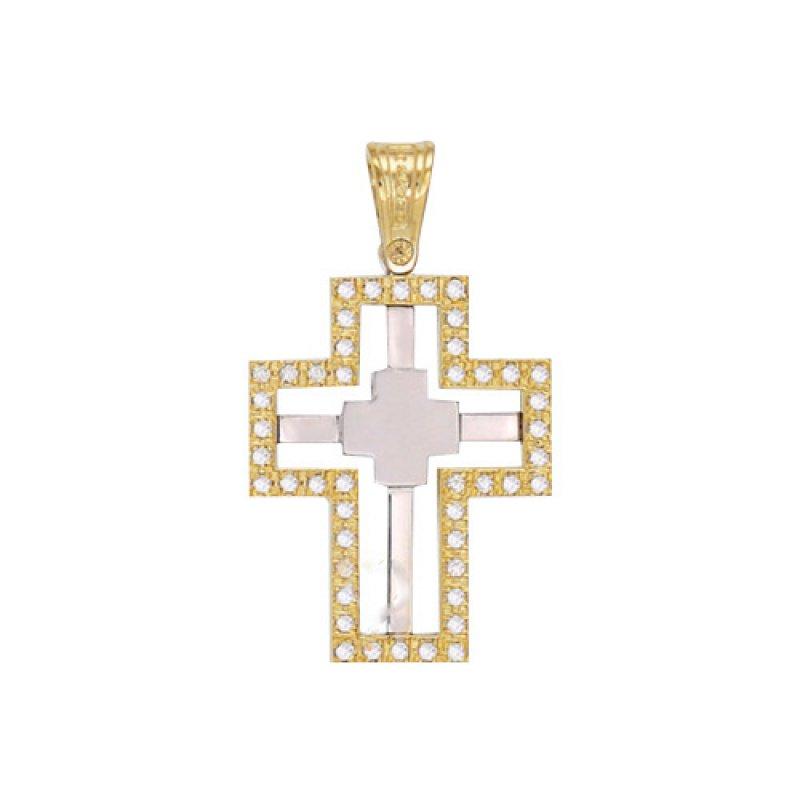 Σταυρός Γυναικείος Al' Oro Χρυσό Κ14 Δίχρωμος - KTA156