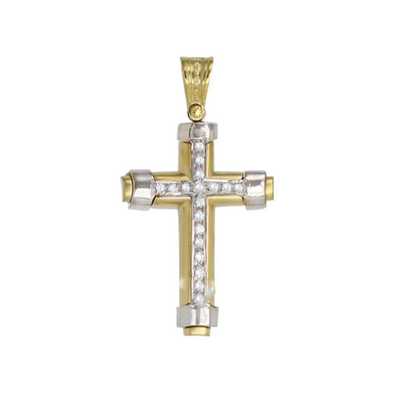 Σταυρός Γυναικείος Al' Oro Χρυσό Κ14 Δίχρωμος - KTA167