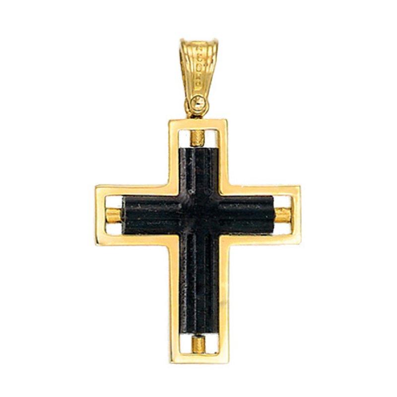 Σταυρός Ανδρικός Al' Oro Χρυσό Κ14 & Ξύλο - KTW013