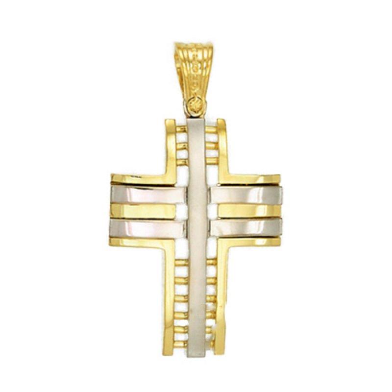 Σταυρός Ανδρικός Al' Oro Δίχρωμος Χρυσό Κ14 - KTX104