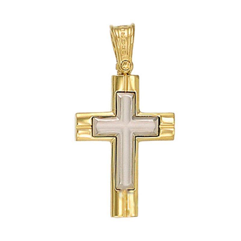 Σταυρός Ανδρικός Al' Oro Δίχρωμος Χρυσό Κ14 - KTX179