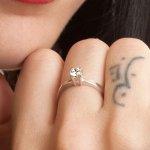 Δαχτυλίδι Μονόπετρο Al\'Oro K14 Λευκόχρυσο με Zircon ZE540 ZE540