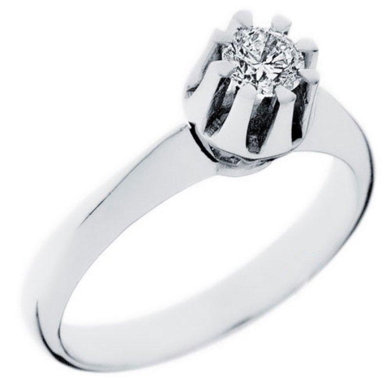 Δαχτυλίδι Μονόπετρο Al\'Oro K14 Λευκόχρυσο με Zircon ZE697 ZE697