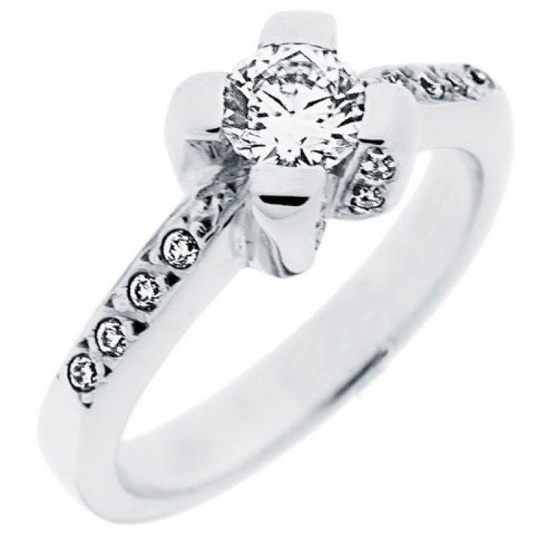 Δαχτυλίδι Μονόπετρο Al\'Oro K14 Λευκόχρυσο με Zircon ZL045 ZL045
