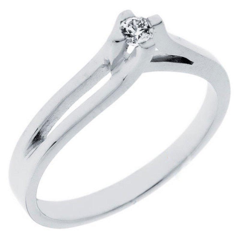 Δαχτυλίδι Μονόπετρο Al\'Oro K14 Λευκόχρυσο με Zircon ZL615 ZL615