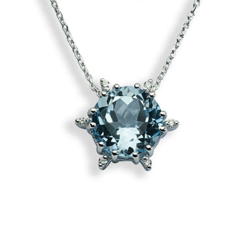 Κολιέ Amante K18 with Diamonds and Blue Topaz - CN157RD