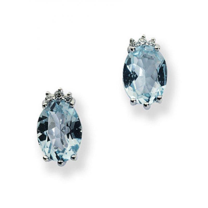 Σκουλαρίκια Amante Από Λευκόχρυσο k18 with Diamonds and Blue Topaz - OR101RD