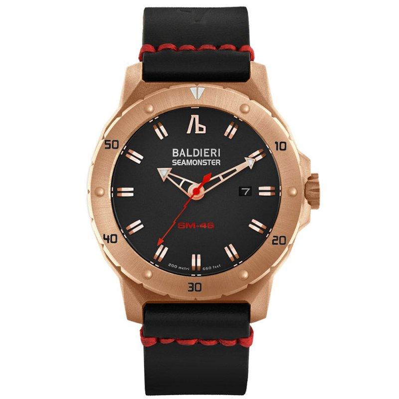 Ρολόι Baldieri Seamonster M-46 Rose Gold Black Leather Strap - AB0021SM-RBK