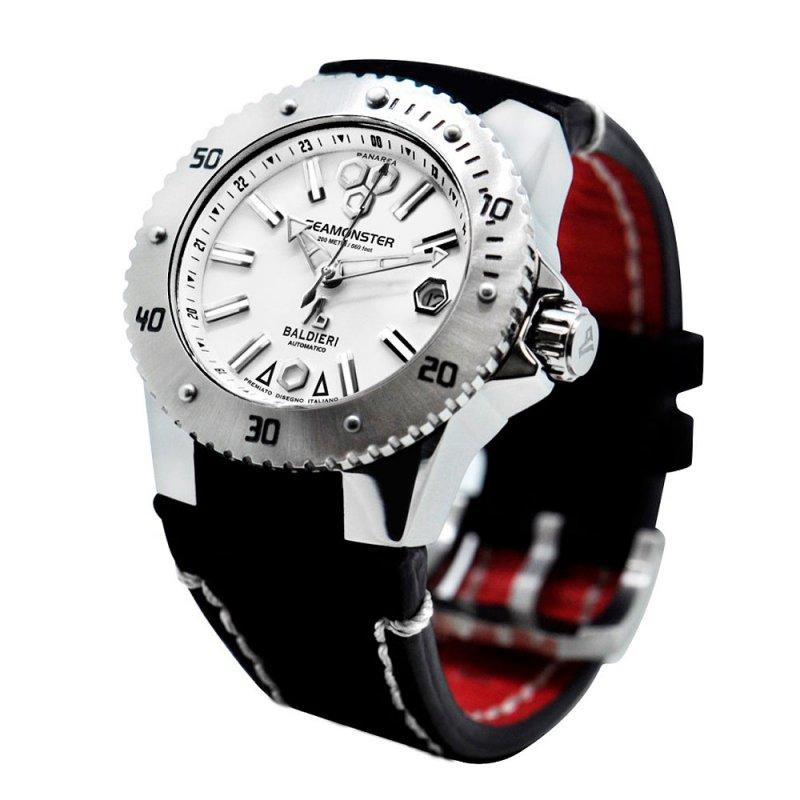Ρολόι Baldieri Seamonster Panarea Lady Inox White Black Leather - AB0031-IWH