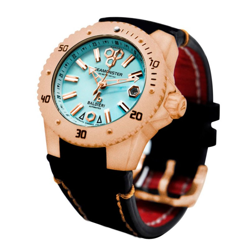 Ρολόι Baldieri Seamonster Panarea Lady Rose Gold Aqua Black Leather - AB0031-RTQ