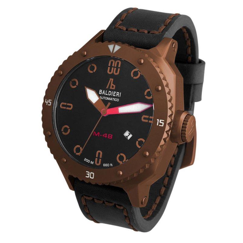 Ρολόι Baldieri Magnum M-48 Coffee Black Leather Strap - AB0061-COG