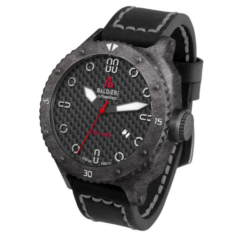 Ρολόι Baldieri Magnum M-48 Carbon Black/Grey Leather Strap - AB0061C-BG