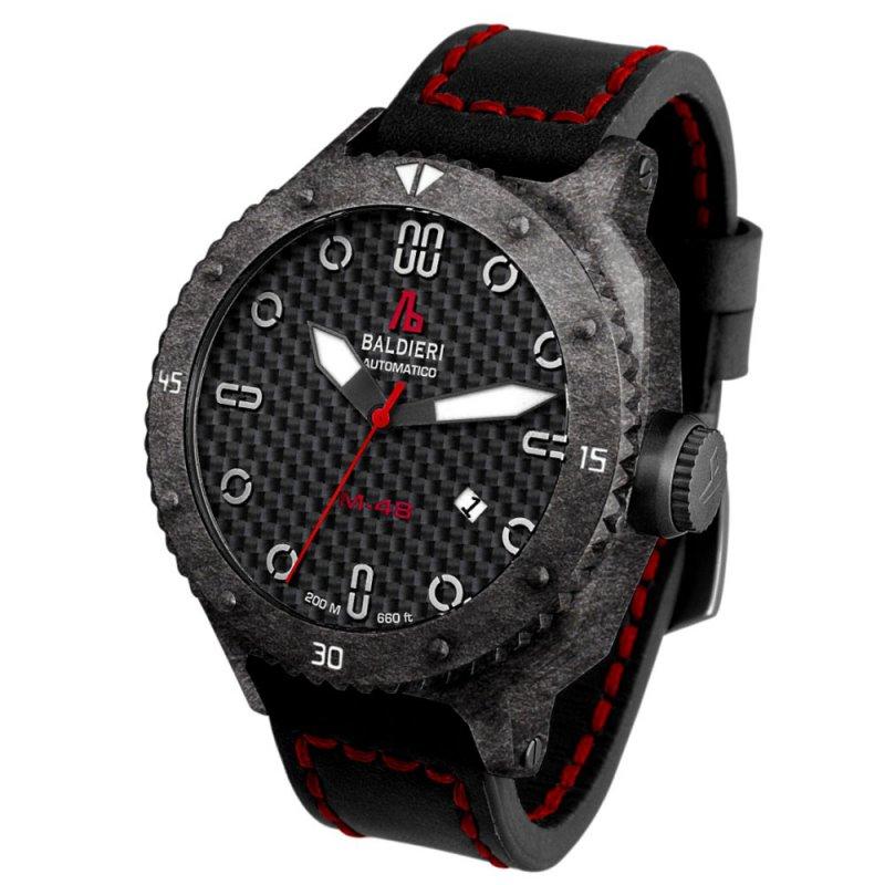 Ρολόι Baldieri Magnum M-48 Carbon Black/Red Leather Strap - AB0061C-BR