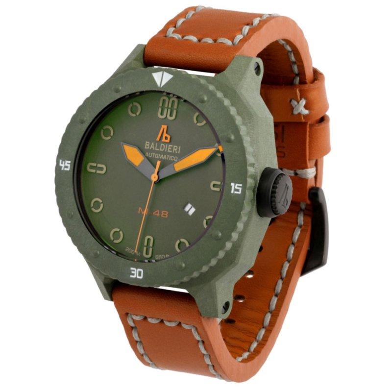 Ρολόι Baldieri Magnum M-48 Carbon Green Orange Leather Strap - AB0061C-GRO