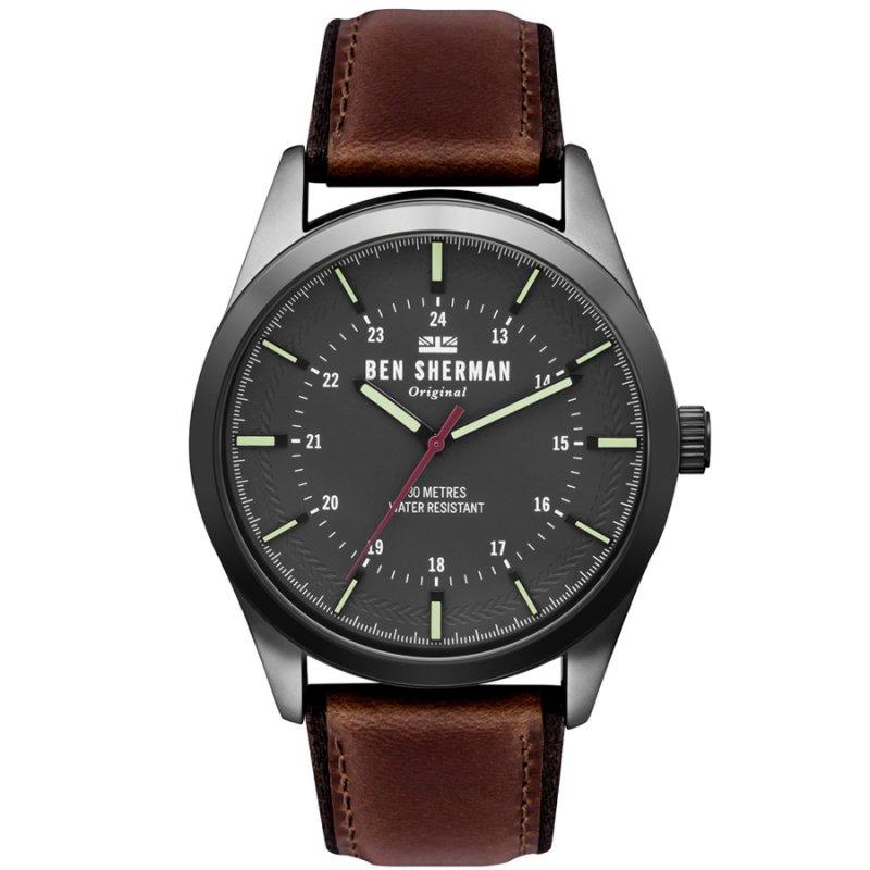 Ρολόι BEN SHERMAN Spitafields Outdoor Brown Leather Strap - WB027TB