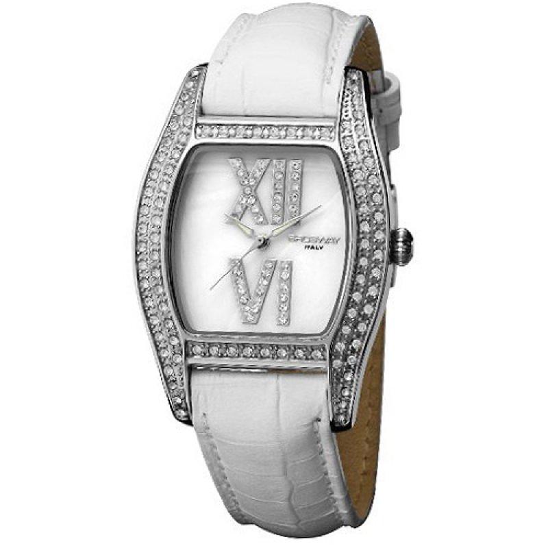 Ρολόι Brosway Square Crystal Lady Mop Dial White Leather Strap - LN02