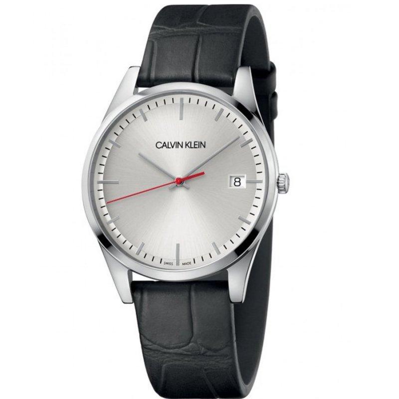Ρολόι CALVIN KLEIN Time Black Leather Strap - K4N211C6