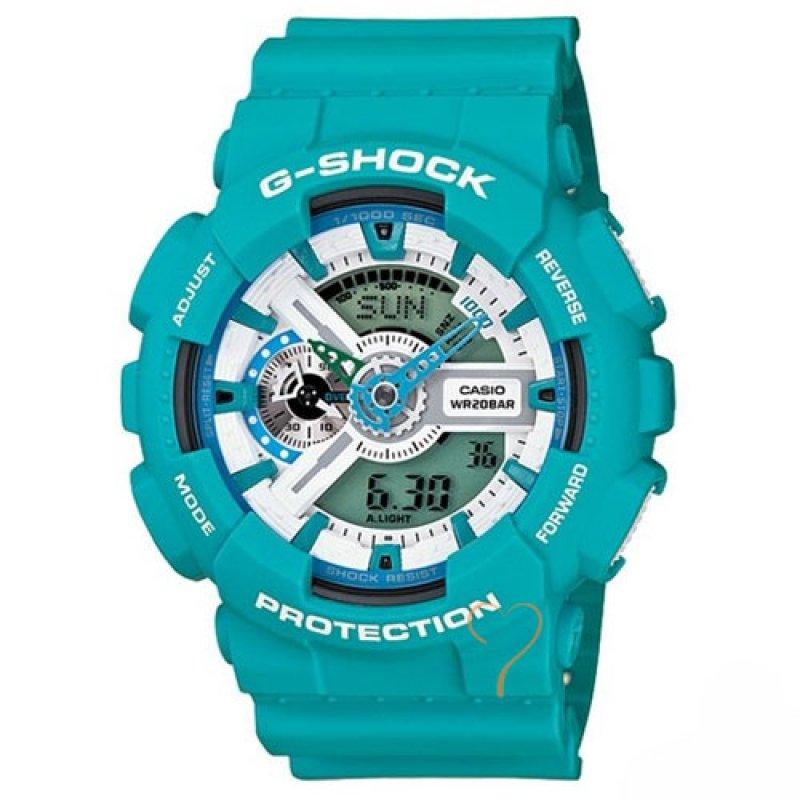 Ρολόι Casio G-Shock Resistant Turquoise Rubber Strap - GA-110SN-3AER