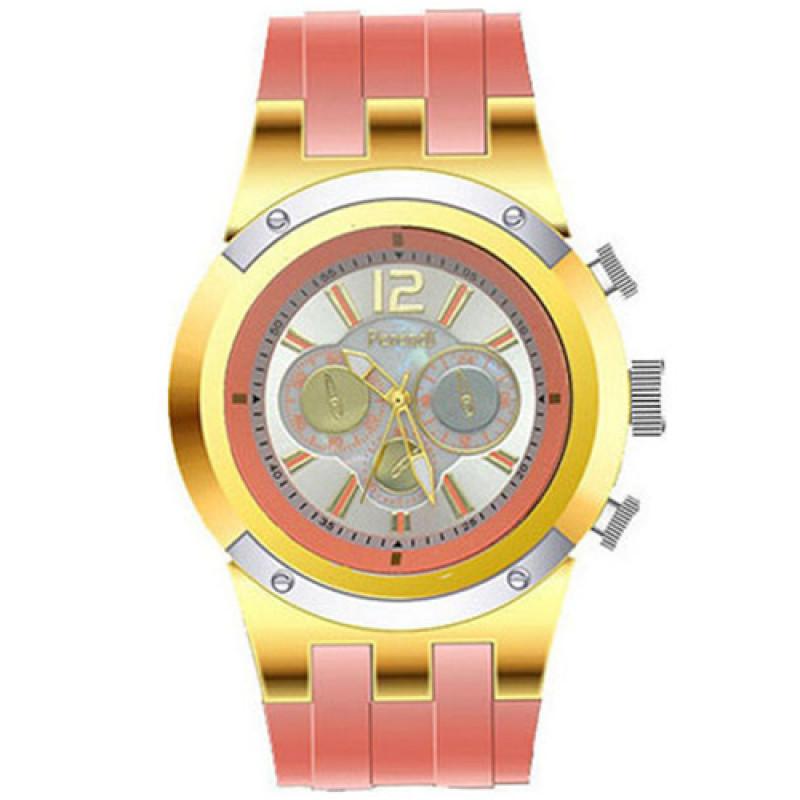 Ρολόι Ferendi Iris Gold Case Coral Rubber Strap - 9090-10