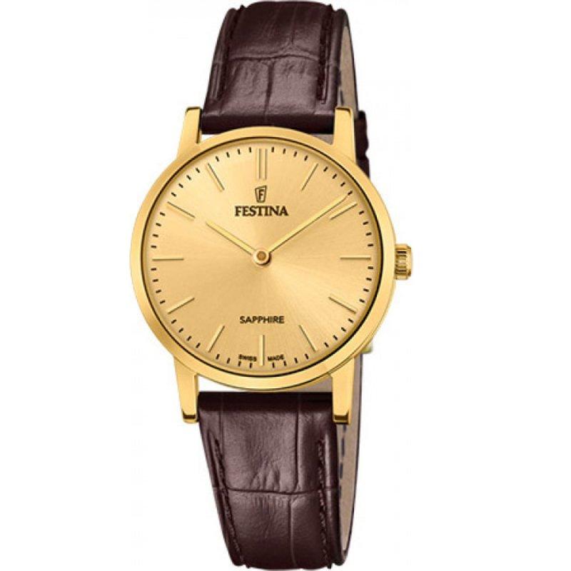 Ρολόι FESTINA Swiss Made Brown Leather Strap - F20017-2