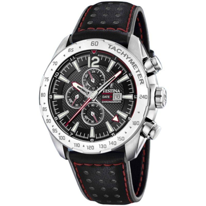 Ρολόι FESTINA Black Leather Strap Chronograph - F20440-4