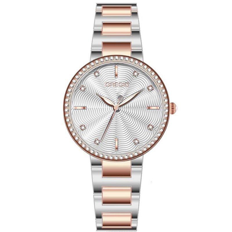 Ρολόι GREGIO Linda Crystals Two Tone Stainless Steel Bracelet - GR240050