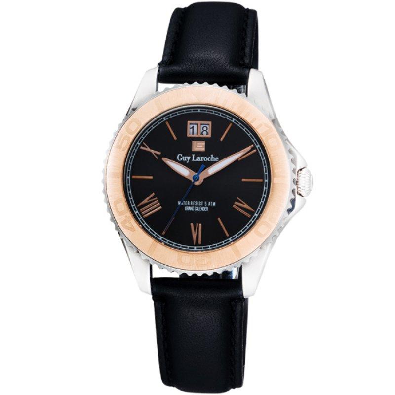 Ρολόι GUY LAROCHE Black Leather Strap - GW2001-06