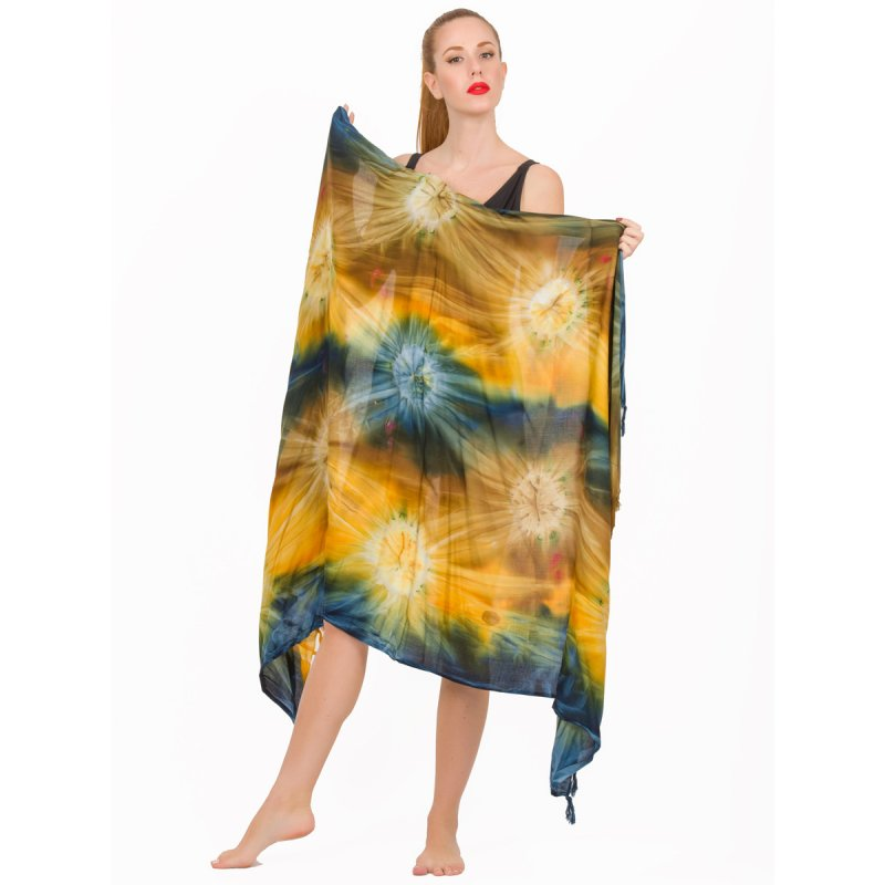 Παρεό JALOUX Multi Colour Viscose Tie Dye Print & Κρόσσια - TAG294-14