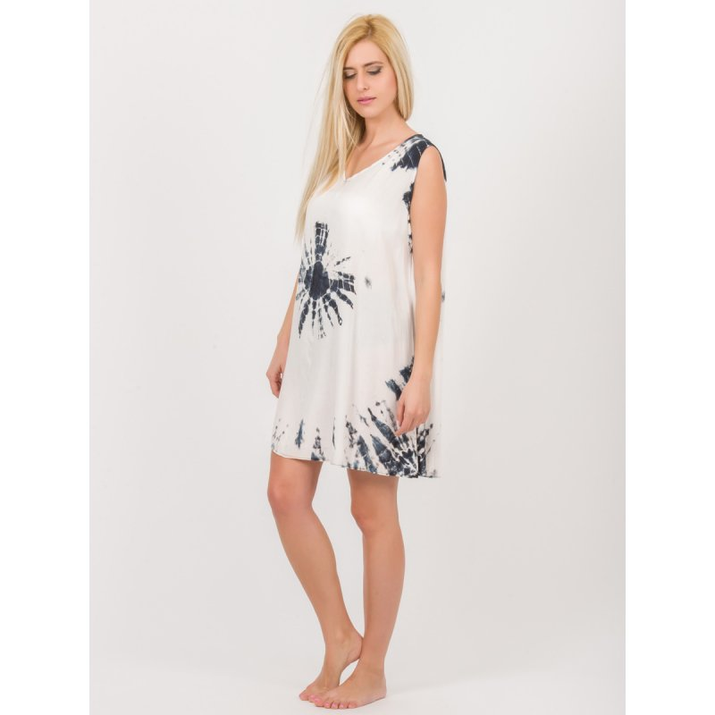 Φόρεμα JALOUX Black-White Viscose Midi Tie Dye Αμάνικο - TAG368-1