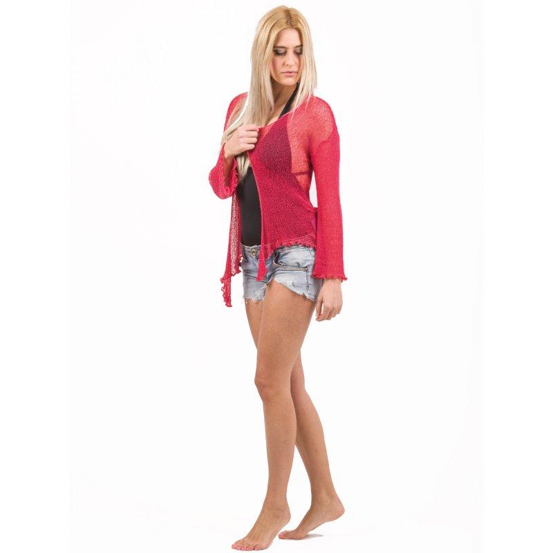 Ζακετάκι JALOUX Red Reyon Κοντό Με Δίχτυ - One Size - TAG413-116