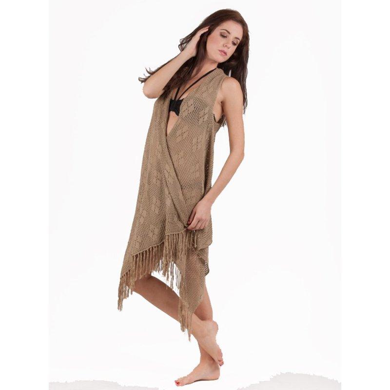 Ζακετάκι JALOUX Beige Cotton Δίχτυ Με Κρόσσια - TAG417-28