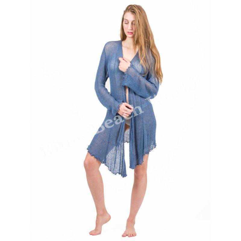 Ζακετάκι JALOUX Blue Reyon Δίχτυ Με Κρόσσια - TAG418-63