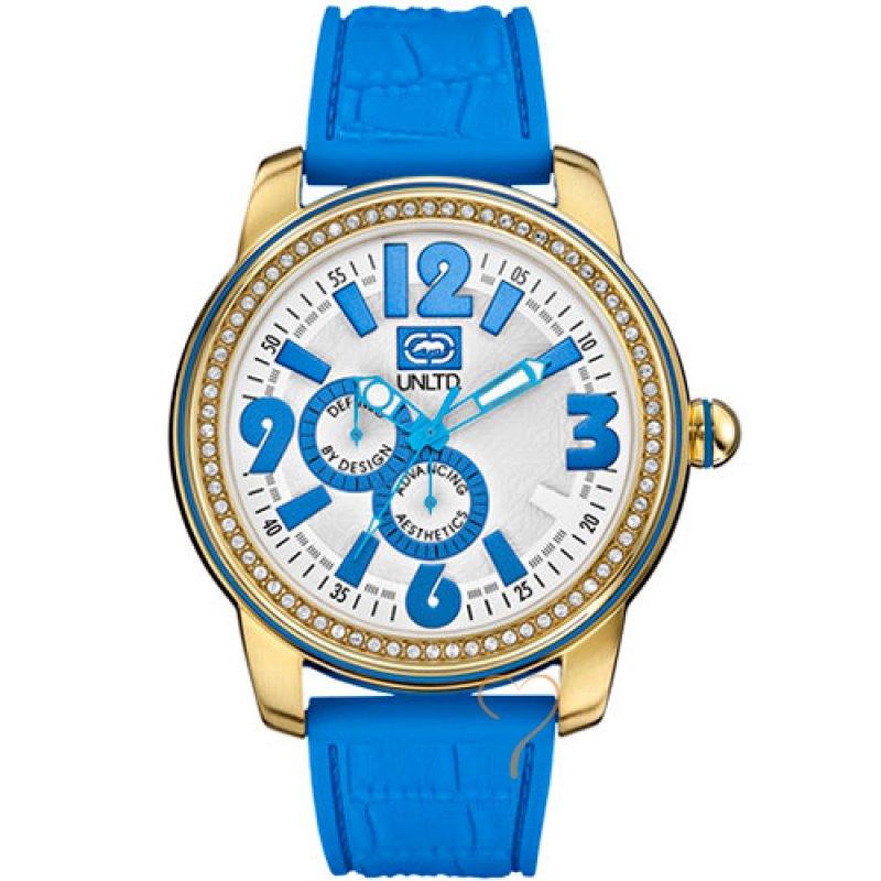 Ρολόι Marc Ecko Unltd Miami Blue Rubber Strap - E13544G5