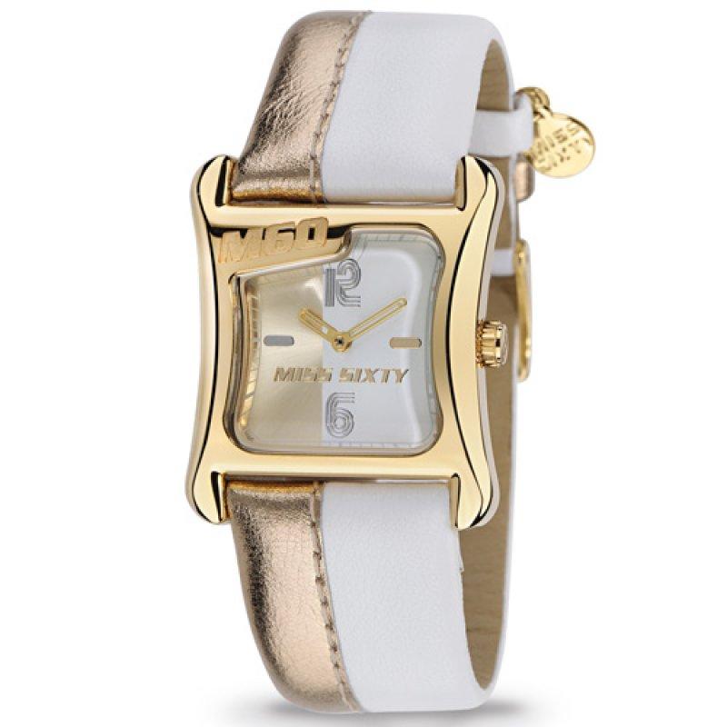 Ρολόι Miss Sixty Bicolor Gold Case Gold-White Dial and Leather Strap - STT003