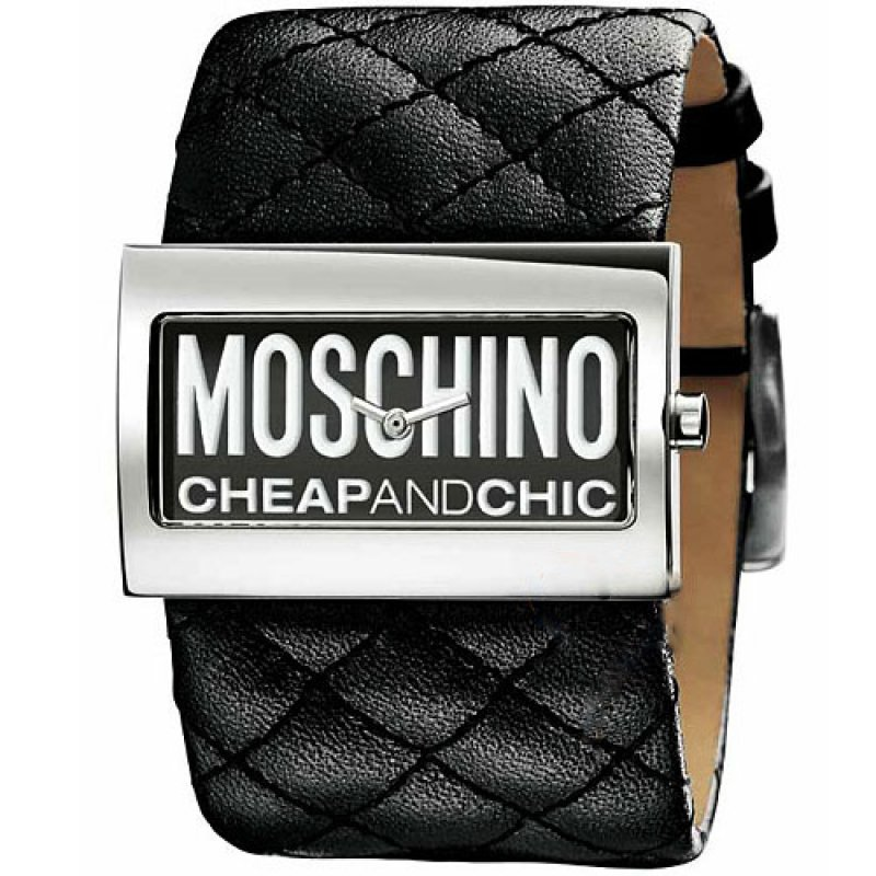 Ρολόι Moschino Logo Dial Black Leather Strap - MW0013