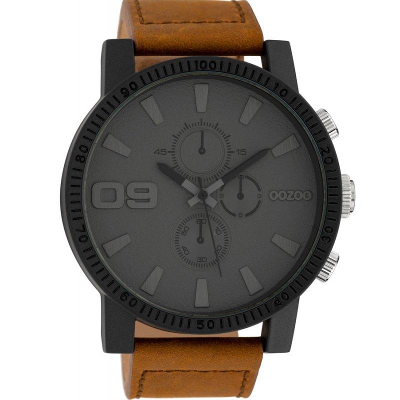 Ρολόι OOZOO Timepieces XXL Brown Leather Strap - C10064