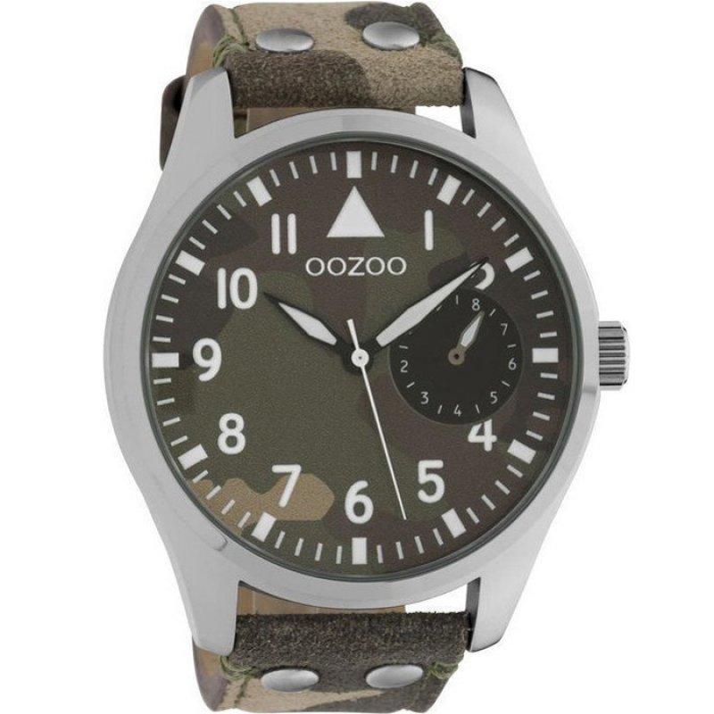 Ρολόι OOZOO Timepieces XXL Brown Leather Strap - C10327