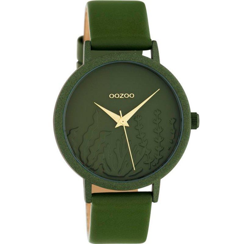 Ρολόι OOZOO Timepieces Ladies 36 mm Aluminium Olive Leather Strap - C10608