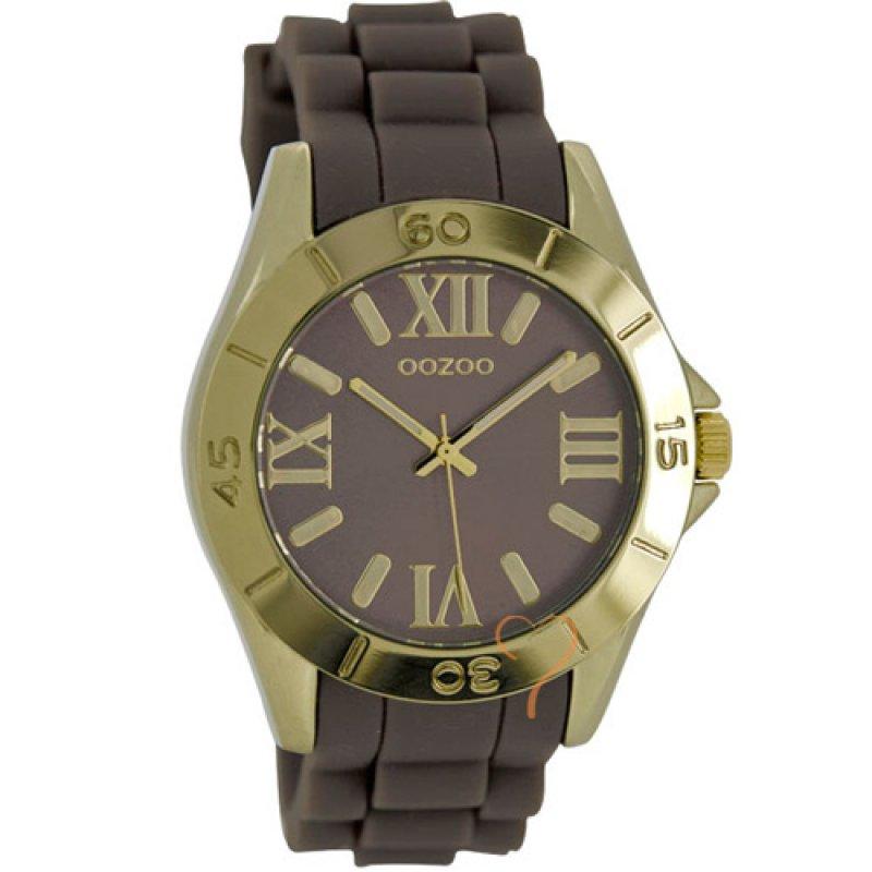 Ρολόι Oozoo Timepieces Gold Case - Brown Rubber Strap - C5714
