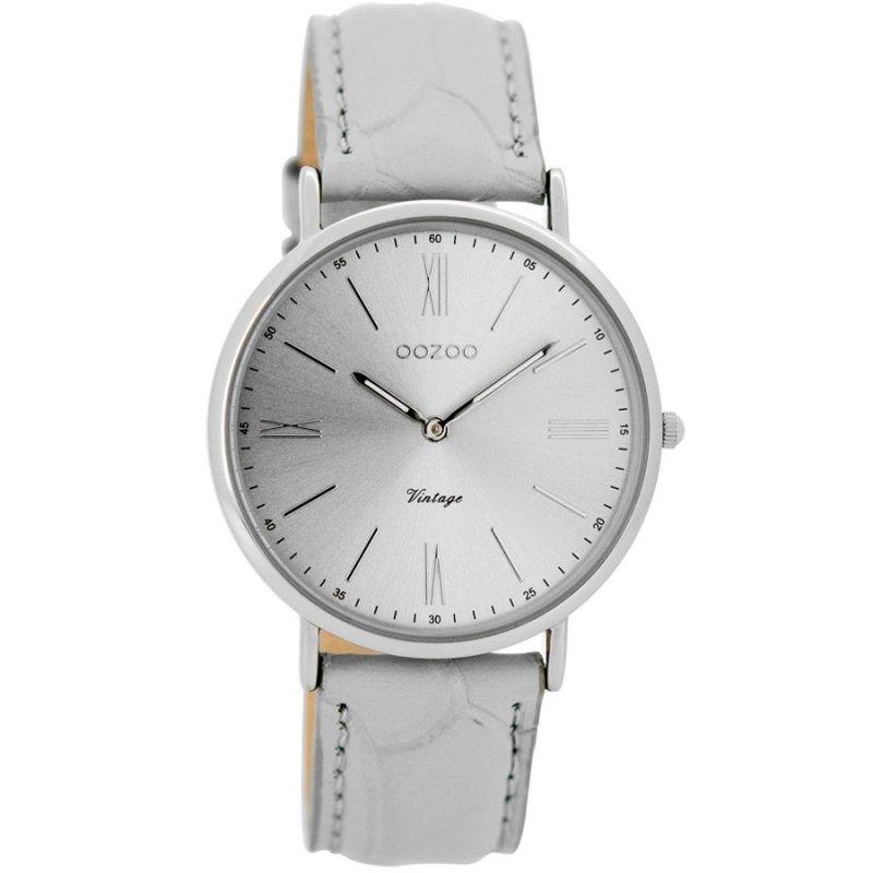 Ρολόι Oozoo Timepieces Vintage Ladies White Leather Strap - C7718